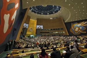 United Nations General Assembly members attending a Climate Summit.
