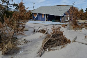 Beach house destroyed by Hurricane Sandy in Fire Island, N.Y.