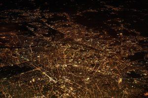 City lit up at night.