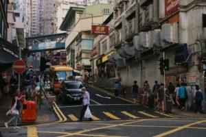 Bustling street corner.
