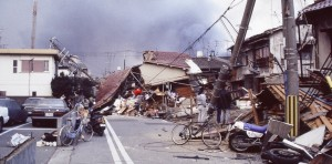 Kobe, Japan decimated by an earthquake.