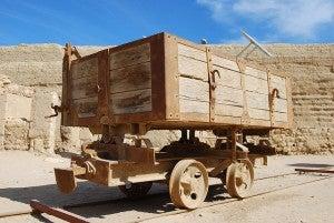 Wagon in the desert.