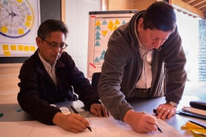 Rod M. Fujita, Environmental Defense Fund, and Brian Crawford, Coastal Resources Center, utilizing ChangeLabs tools to compile a list of levers for fundamentally transforming the small-scale fisheries ecosystem.