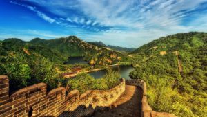 Great Wall of China extending far into the distance.