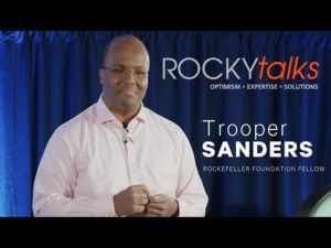 Trooper Sanders leading a discussion at ROCKYtalks.