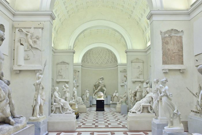Sculptures in a museum.