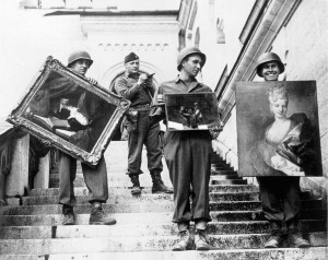 American GIs hand-carried paintings down the steps of the castle