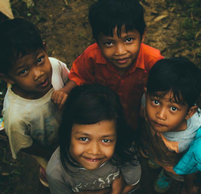 Children smiling.