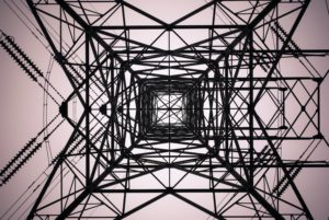Upwards view of a power-line.