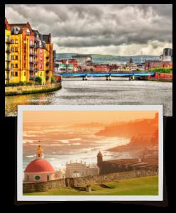 Snapshot of two cities.