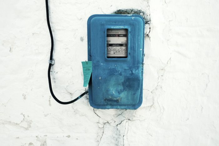 Meter which tracks electricity consumption.