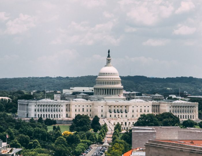 Aerial view of Capitol Hill in Washington, D.C.